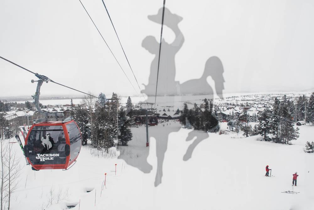 Riding the ski lift at Jackson Hole Mountain Resort.