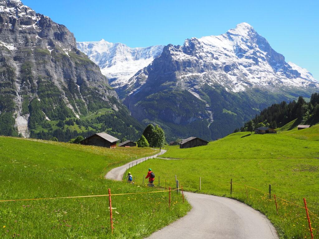 Riding trottibikes in Grindelwald, Switzerland.
