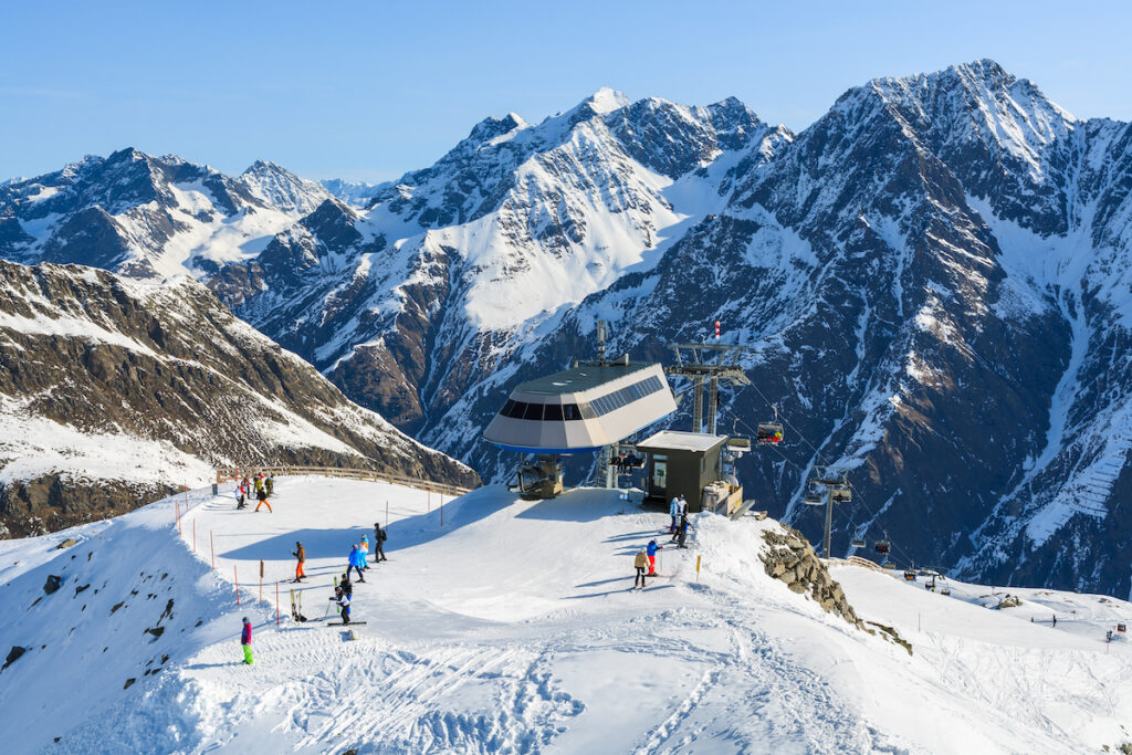 Rifflsee, a ski resort at Pitztal Glacier in Austria.