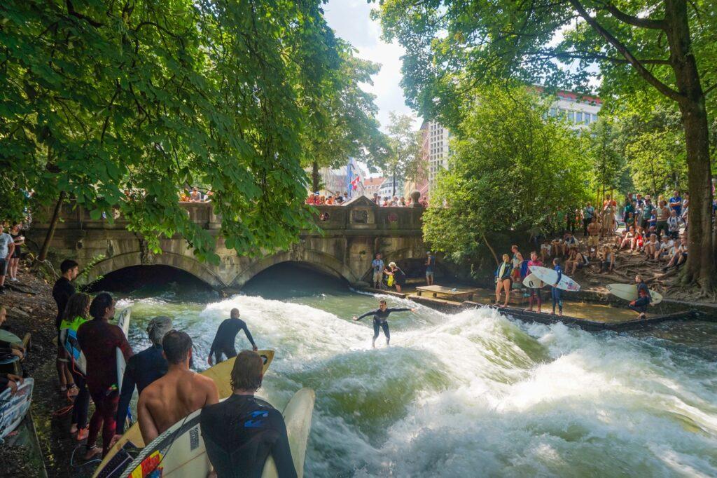 River surfers in Munich.