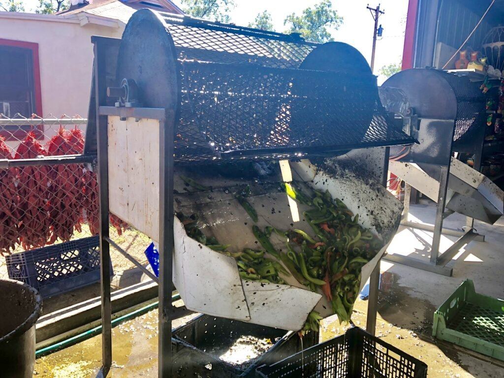 Roasting chiles in Hatch, New Mexico.