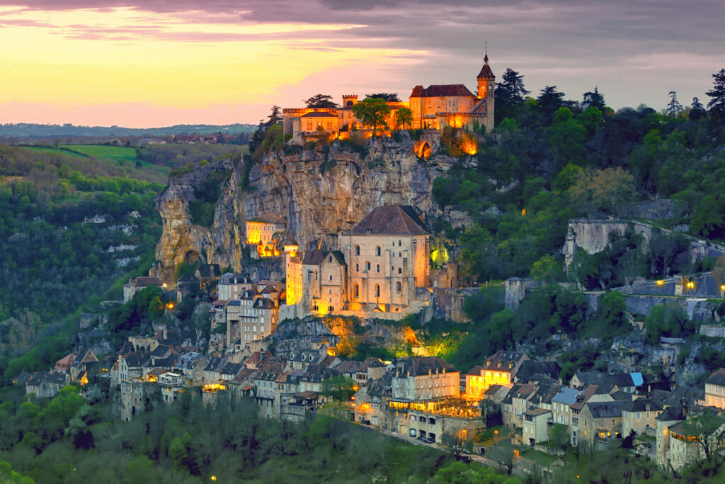 Rocamadour, France, at sunset.