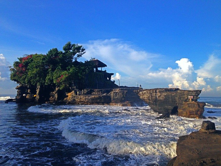 rock formation and Balinese Hindu temple of
