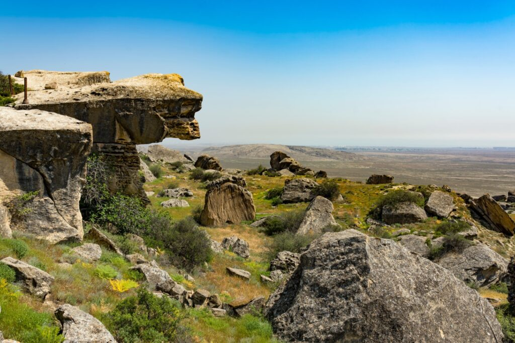Rock formations in Gobustan National Park.