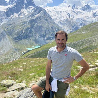 Roger Federer hiking the Swiss Alps, Engadin, Graubunden, Copyright Roger Federer