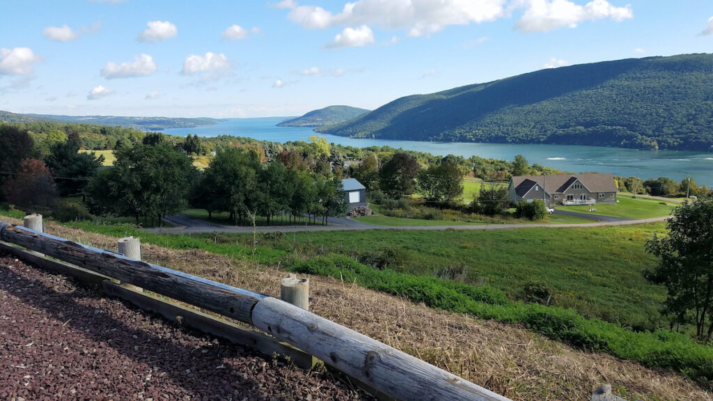 Rolling hills with a view of Canandaigua Lake.