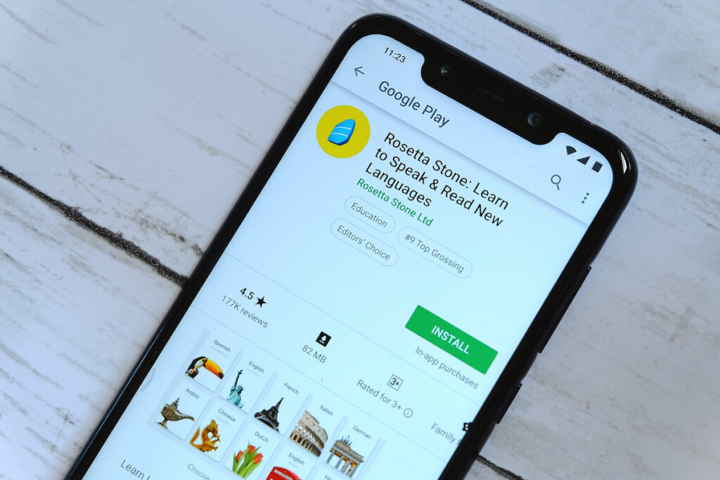 Rosetta Stone smartphone app.