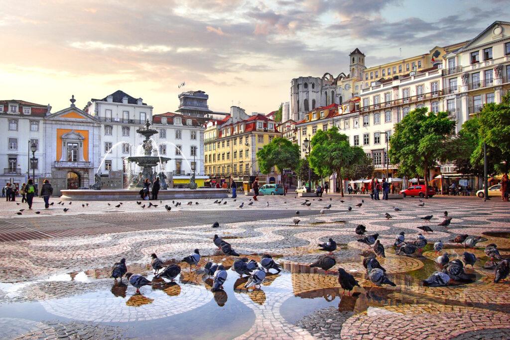 Rossio Square in Lisbon, Portugal.