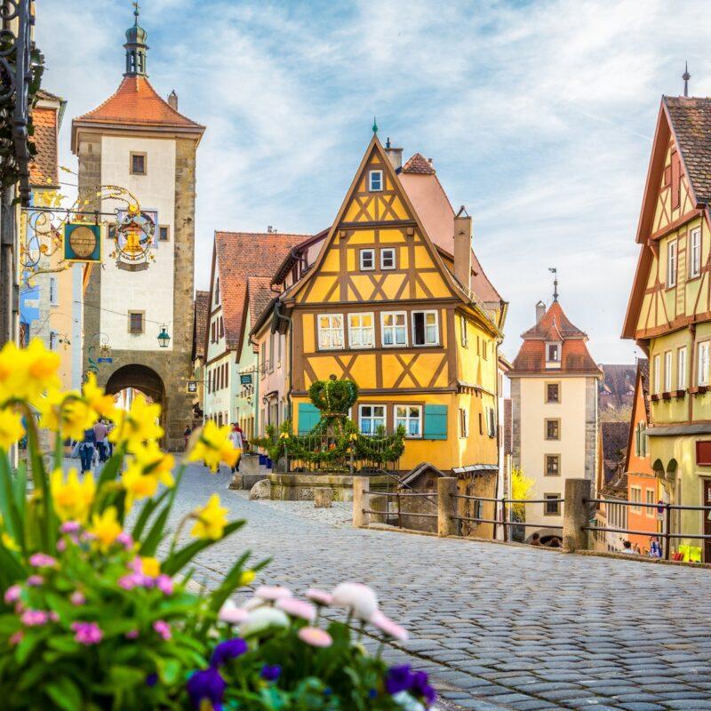 Rothenburg ob der Tauber, a medieval town in Bavaria, Germany.