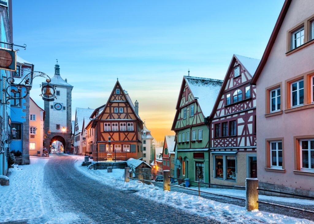 Rothenburg Ob Der Tauber, Germany, during the winter time.