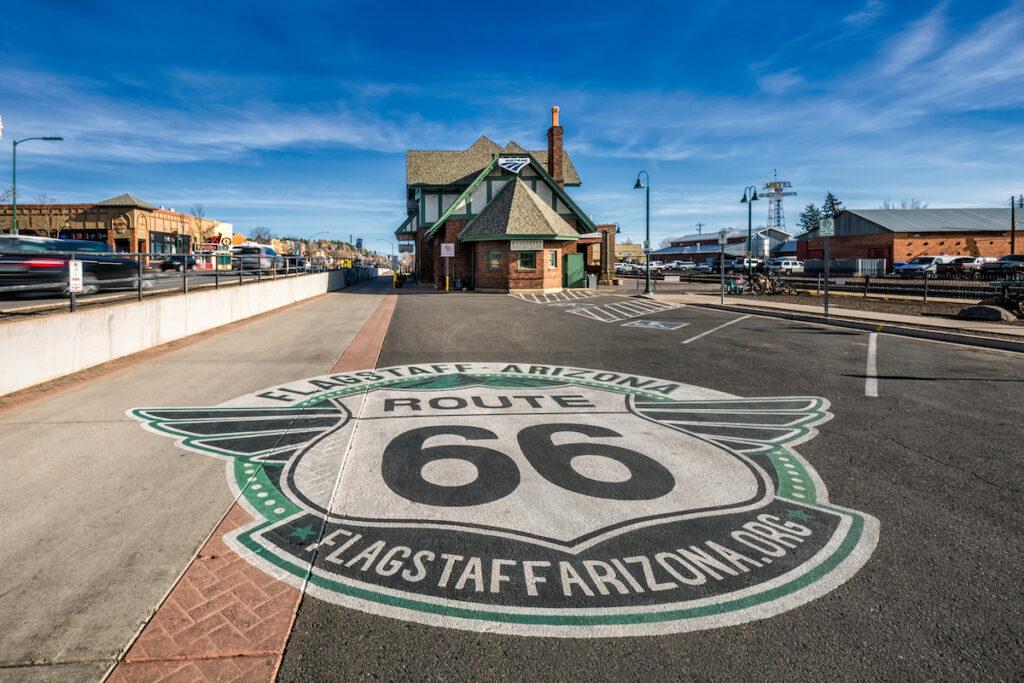Route 66 in Flagstaff, Arizona.