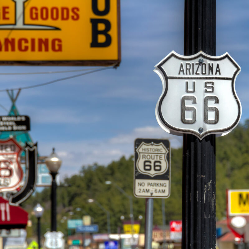 Route 66 signs in downtown Williams, Arizona.