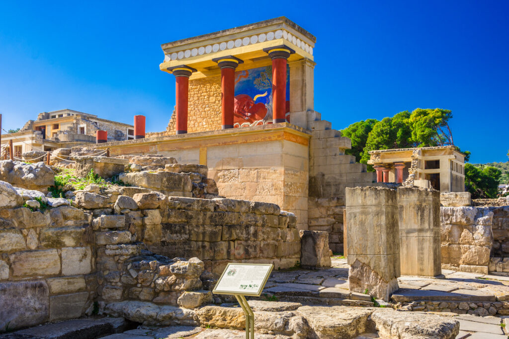 Ruins at at Knossos, an archaeological site.