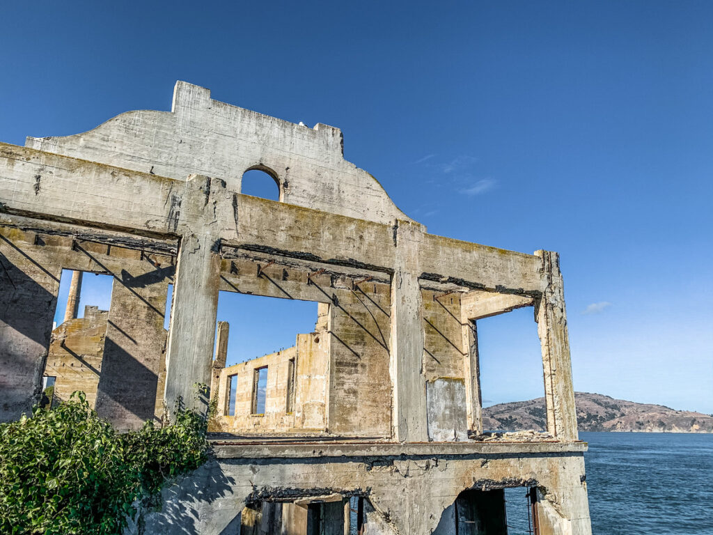 Ruins of the old Officers' Club on Alcatraz Island.