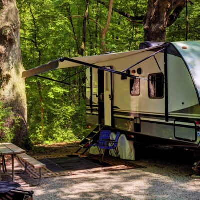 RV camping in the woods.