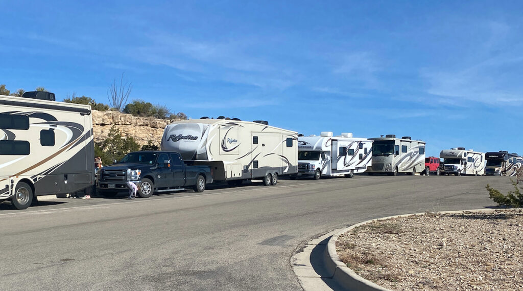 RVs lined up at Carlsbad Caverns National Park in New Mexico.