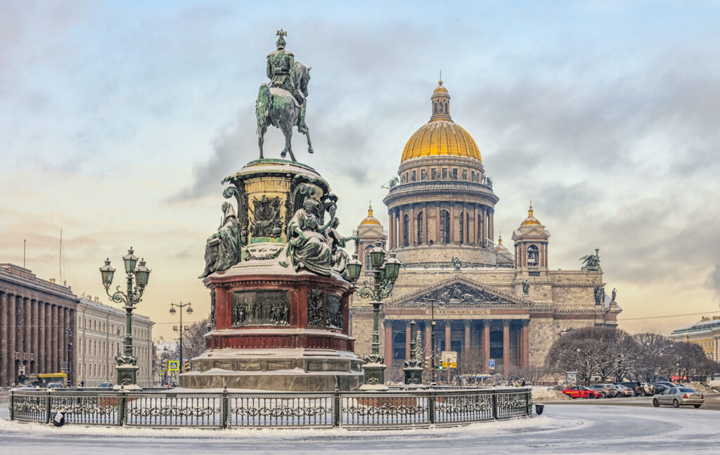Saint Petersburg, Russia, covered in snow.