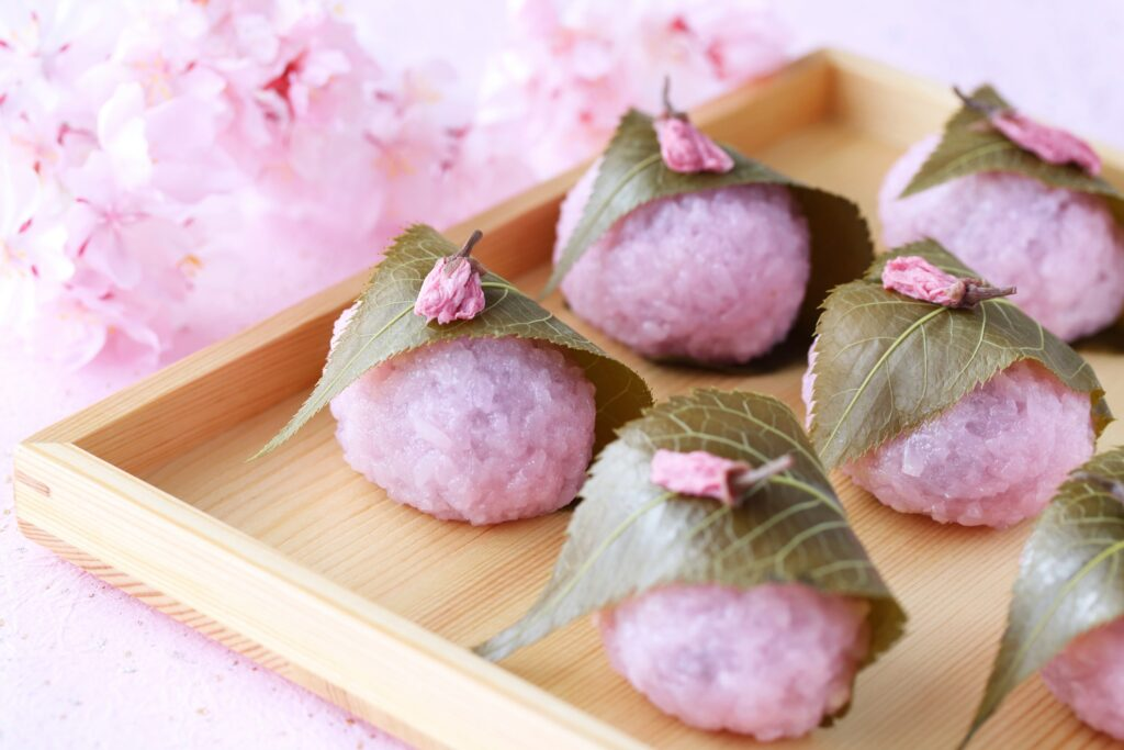 Sakura mochi in Japan.