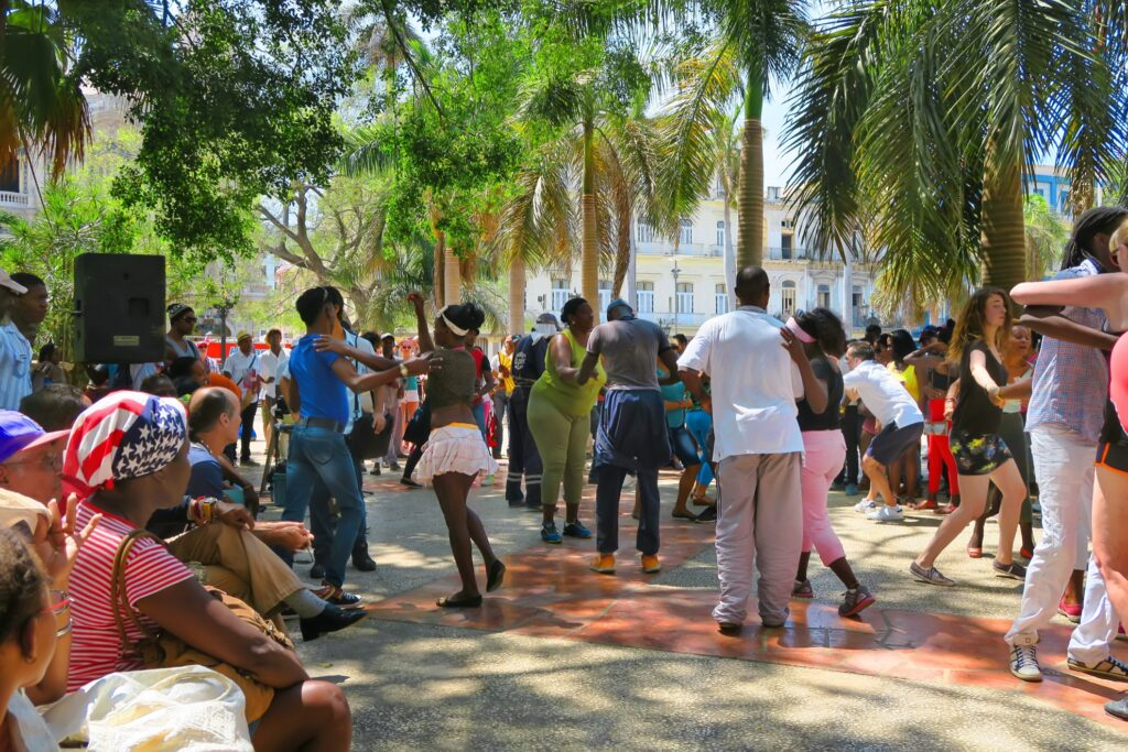 Salsa dancing in the streets in Havana.