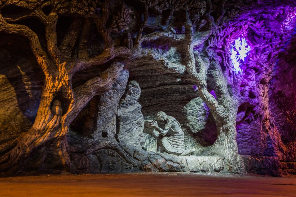 Salt sculptures inside the Salt Cathedral of Zipaquira.