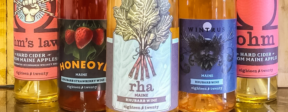 Sampling of wines from eighteen twenty wines in Portland, Maine.