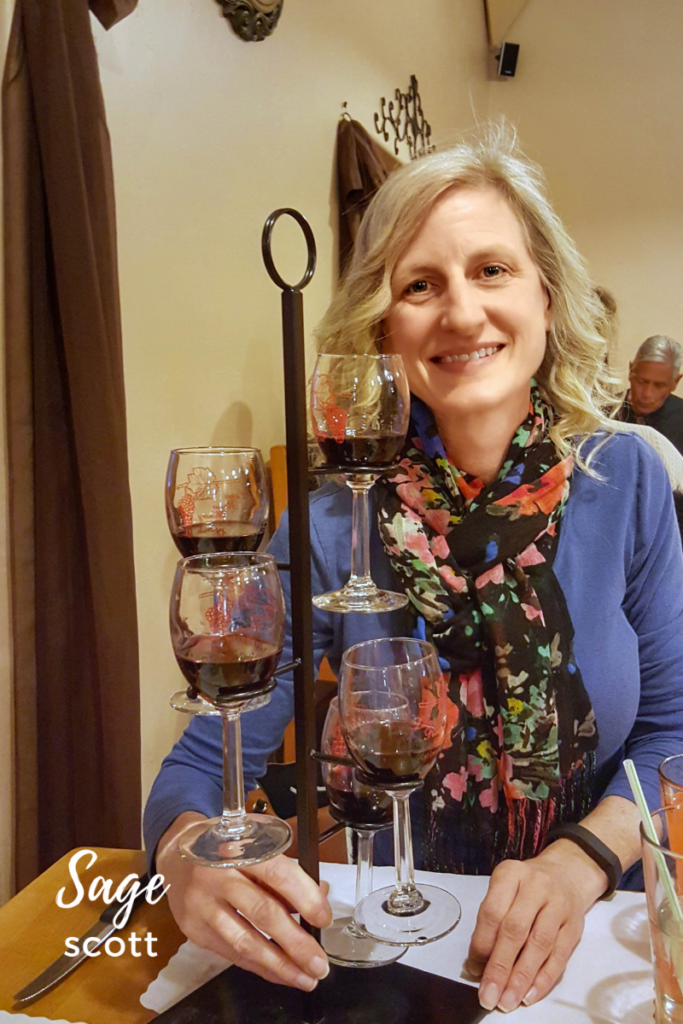 Sampling wine at Luna Rossa, Las Cruces.