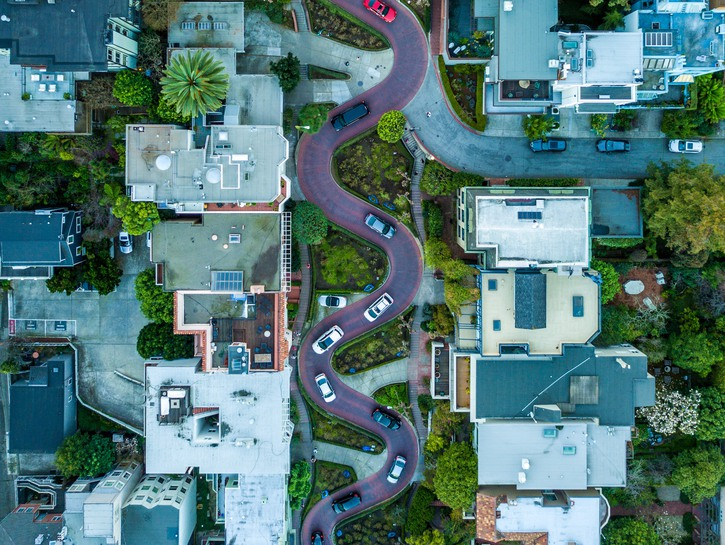 San Francisco's Lombard Street seen from above.