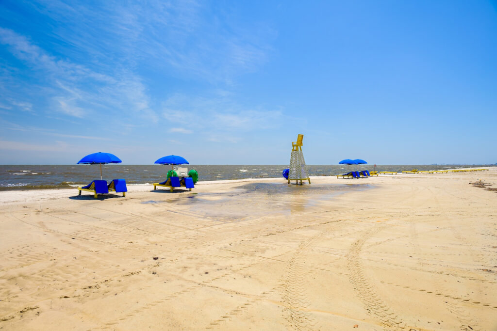 Sand and surf in Gulfport, Mississippi.