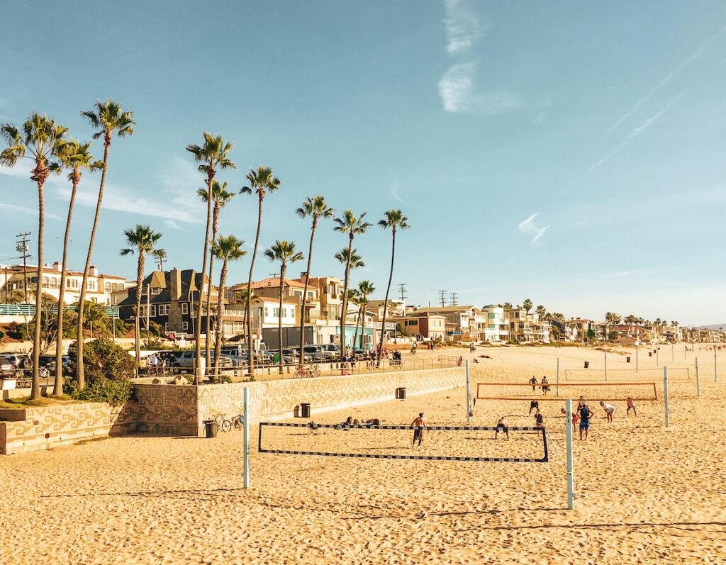 Sand volleyball nets in Manhattan Beach, California.