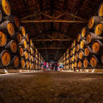 Sandeman wine cellars in Porto, Portugal.