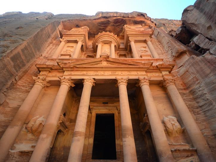 Sandstone facade of Al-Khazneh, Lost City of Petra, Jordan.