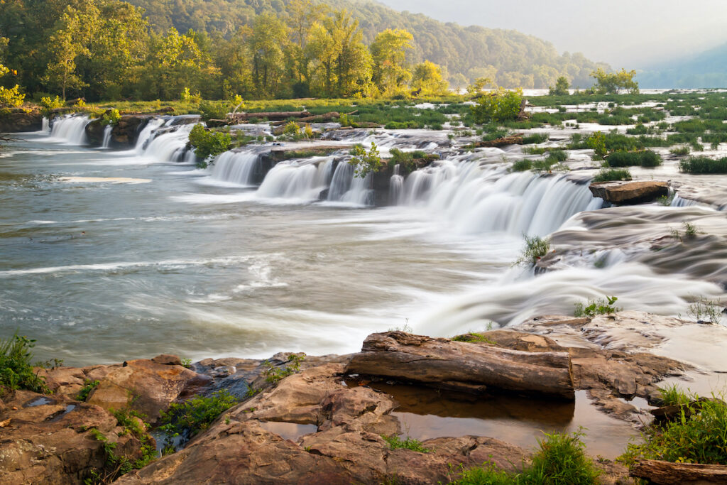 Sandstone Falls along the New River in West Virginia.