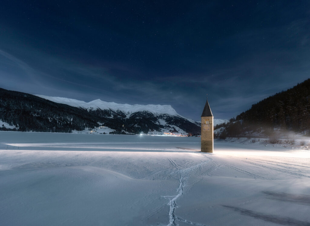 Santa Caterina d'Alessandria bell tower in snow.