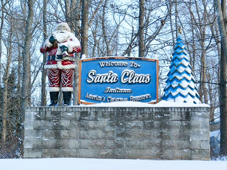 Santa Claus, Indiana welcome sign.