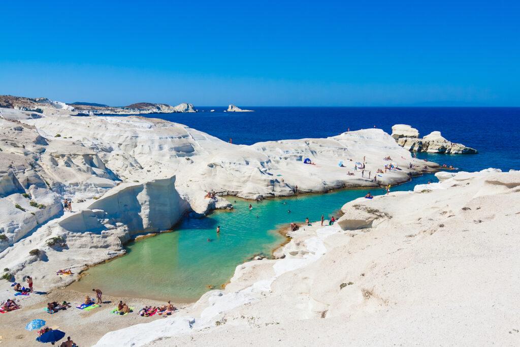 Sarakiniko Beach in Milos, Greece.