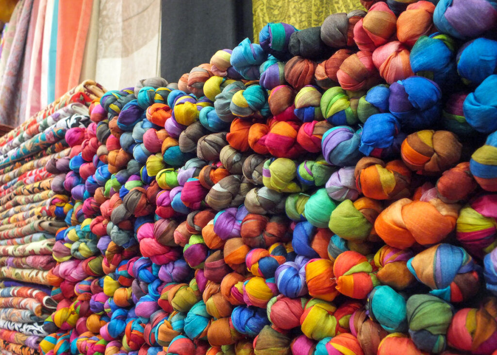 Scarves for sale at a souk in the Middle East.