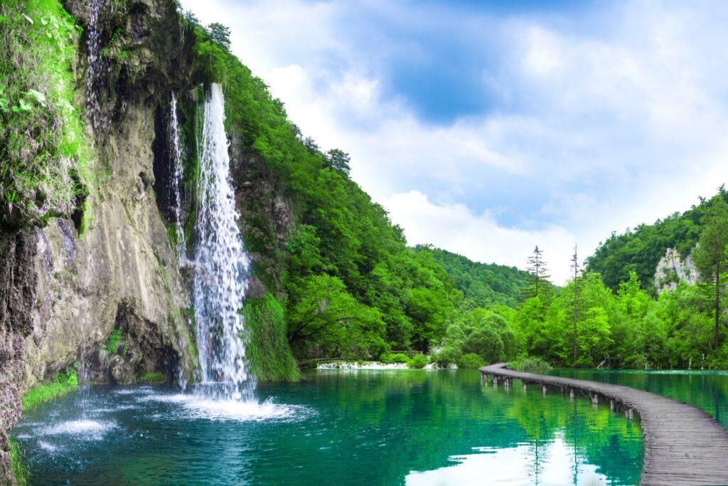 Scenery in Plitvice Lakes National Park.