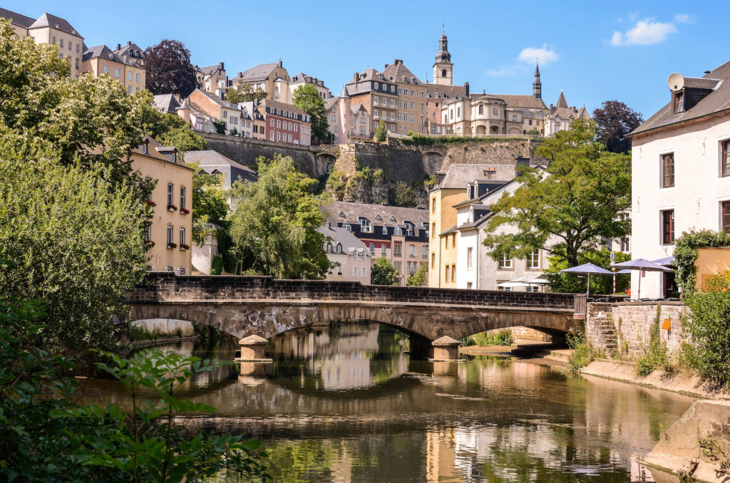 Scenic views in downtown Luxembourg City.
