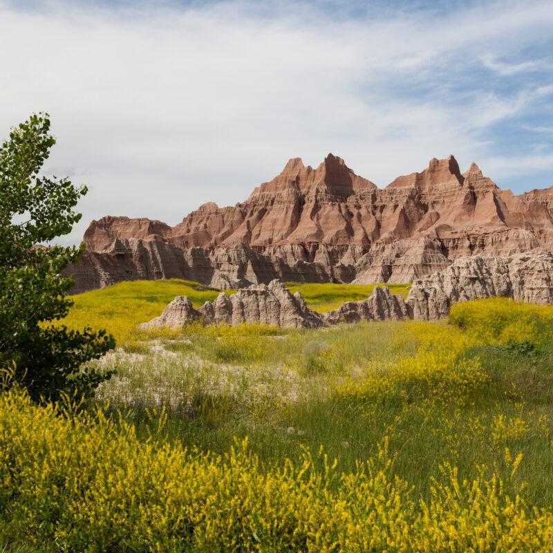Scenic views of Badlands National Park in South Dakota.