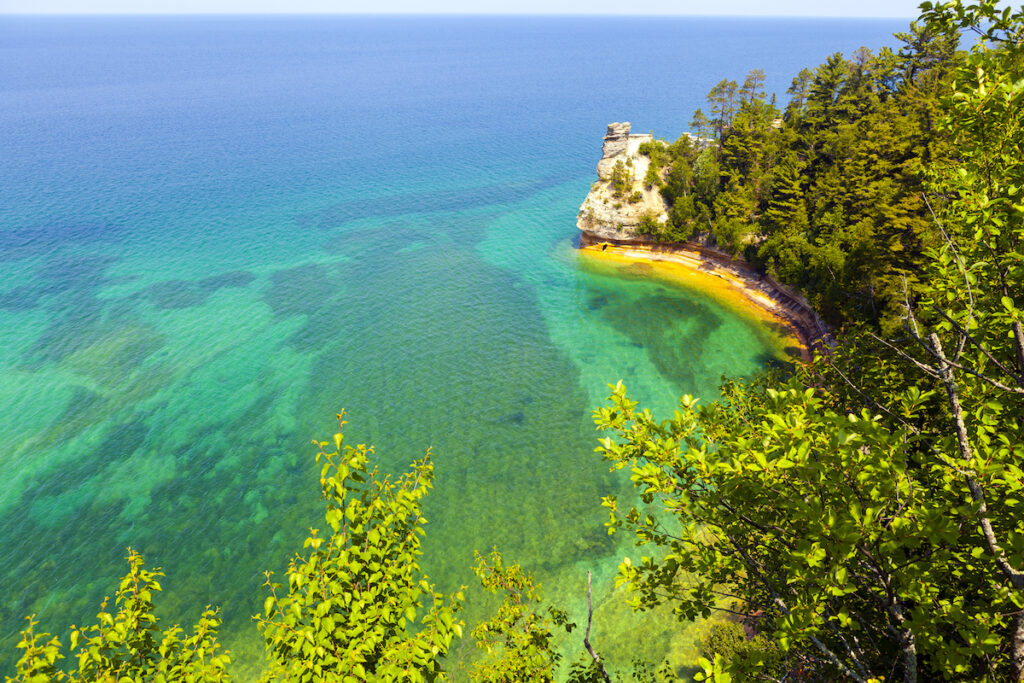 Scenic views on Pictured Rocks National Lakeshore.