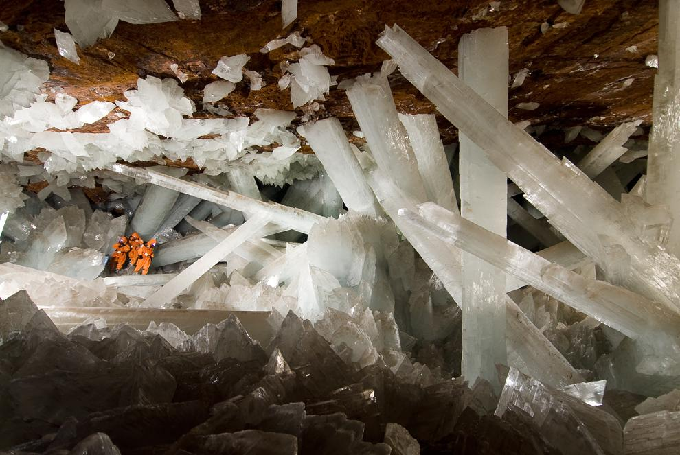 Scientists exploring the Cave of Crystals.