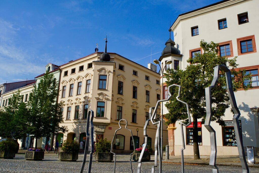Sculptures in the town square of Jihlava.