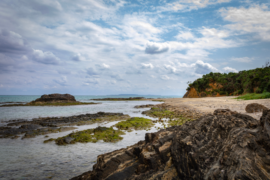 Sea Glass Beach in Okinawa, Japan.