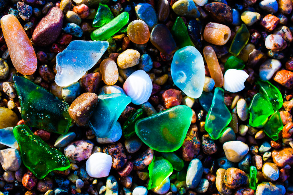 Sea glass on Glass Beach in California.