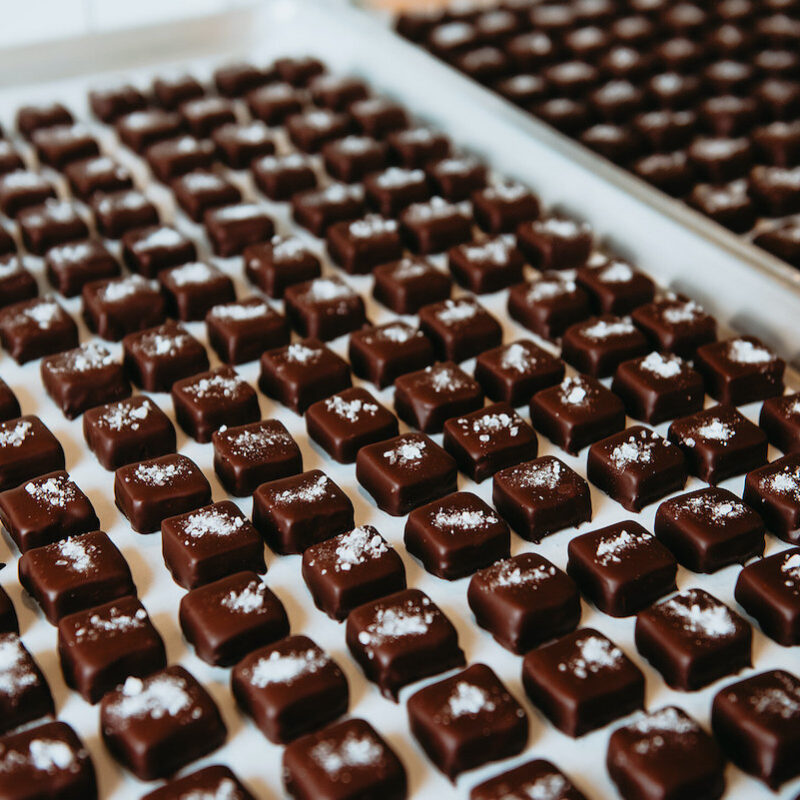 Sea salt caramels on a tray.