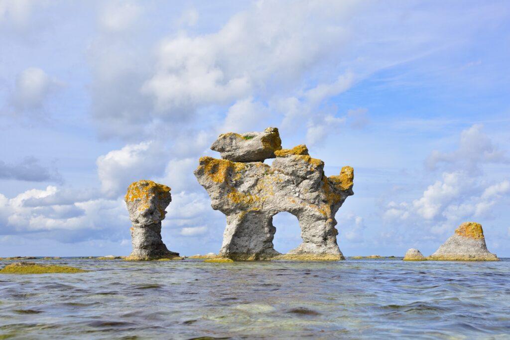 Sea stacks in Gotland.