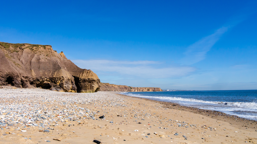 Seaham Beach in County Durham, UK.