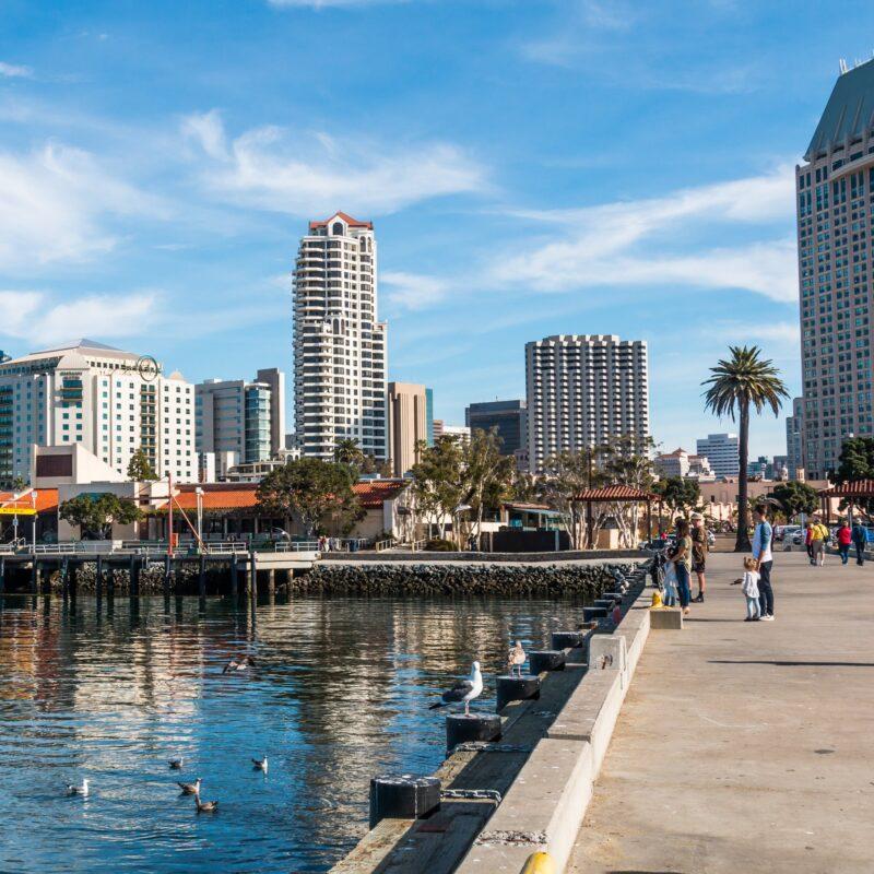 Seaport Village walk in San Diego, California.