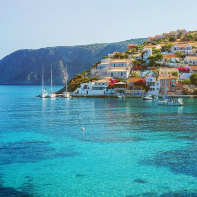 Seaside views of Lefkada, Greece.
