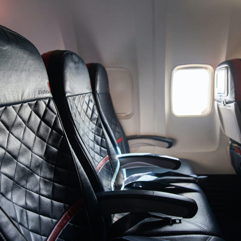 Seats in a Delta airplane.